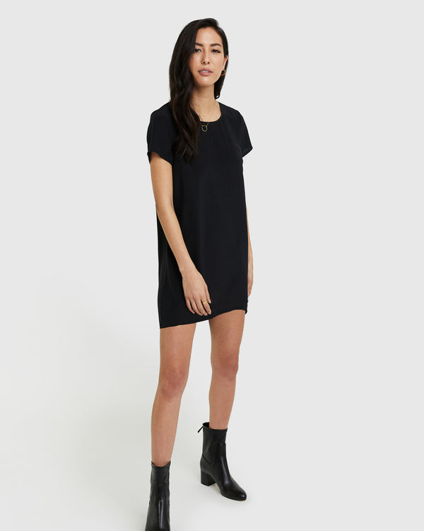 Washable Stretch Silk Tee Dress