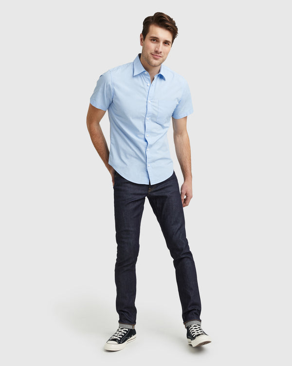Organic Short Sleeve Stretch Poplin Shirt