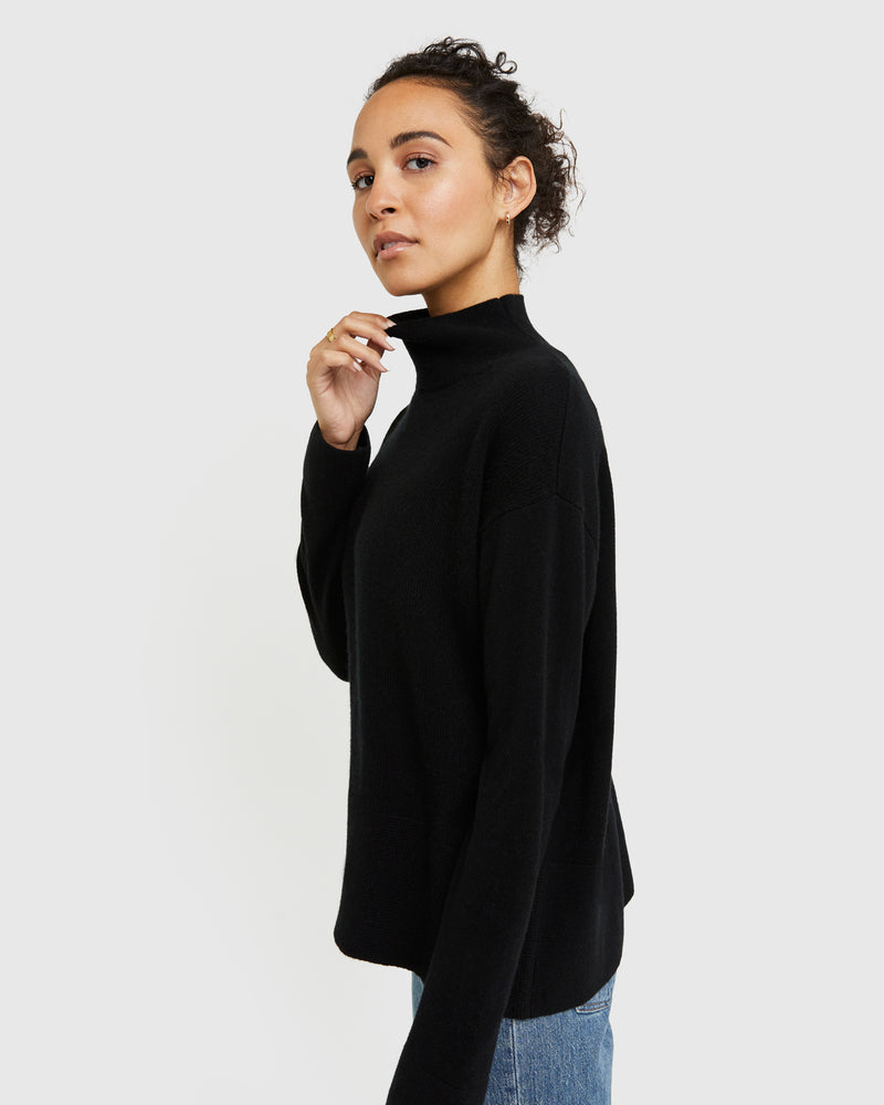 Mongolian Cashmere High Mockneck Sweater
