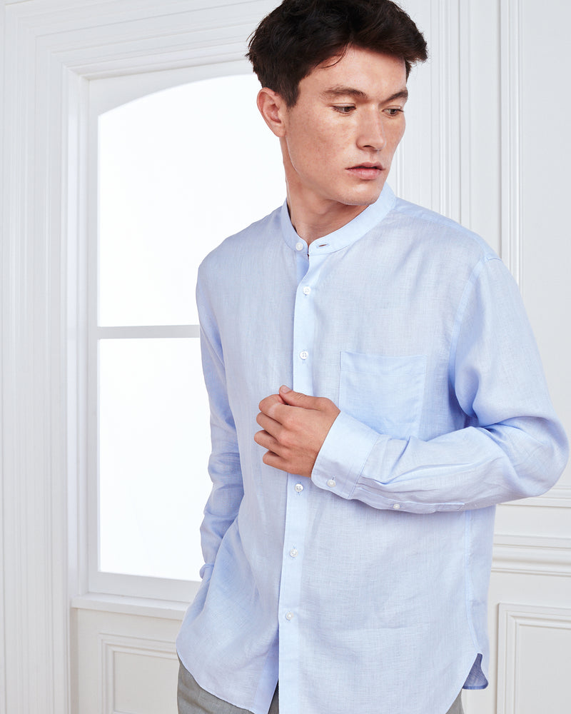 Band Collar French Linen Shirt (w/ WrinkleGuard™)