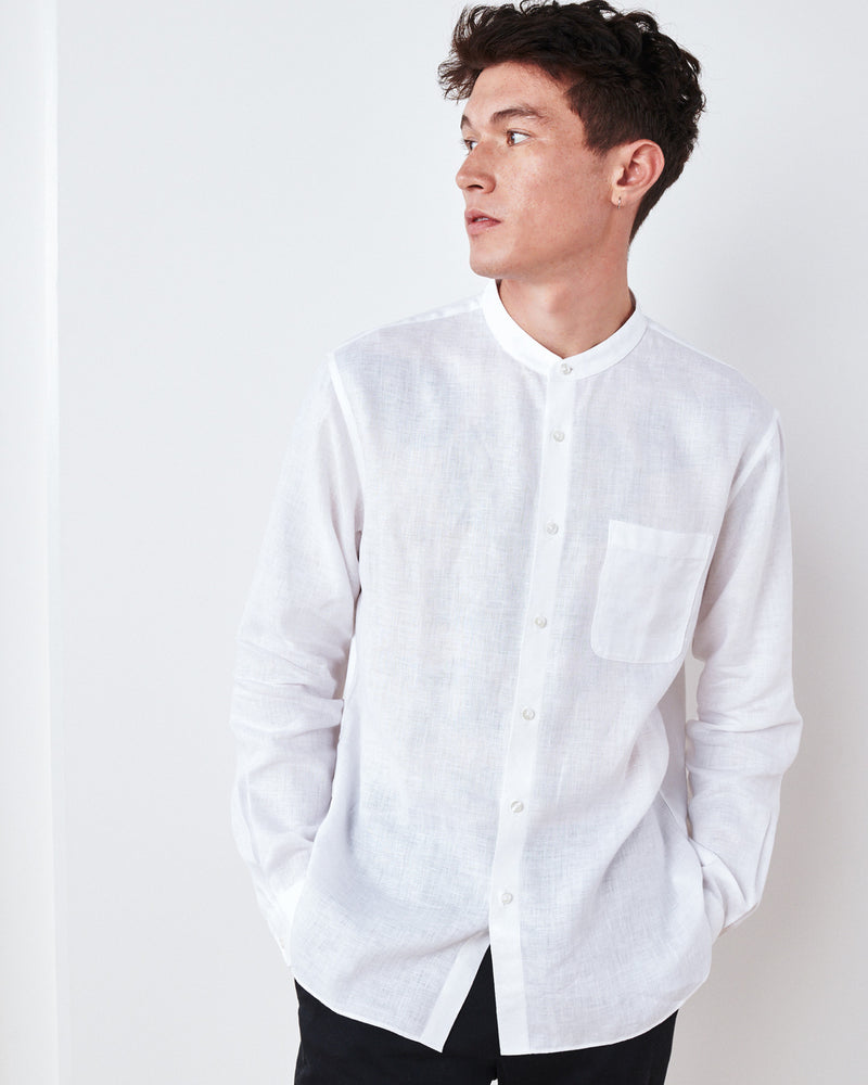 Band Collar Wrinkle-free Linen Shirt