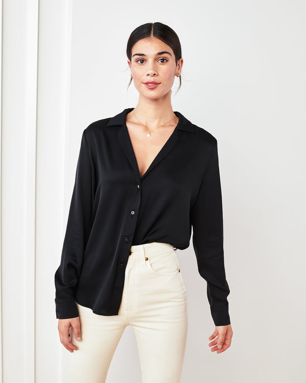 Washable Stretch Silk Notch Collar Blouse