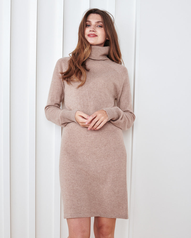 Mongolian Cashmere Turtleneck Dress
