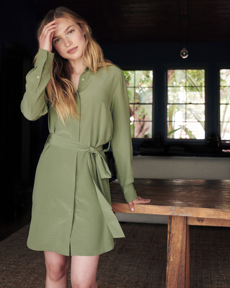 Washable Stretch Silk Shirt Dress