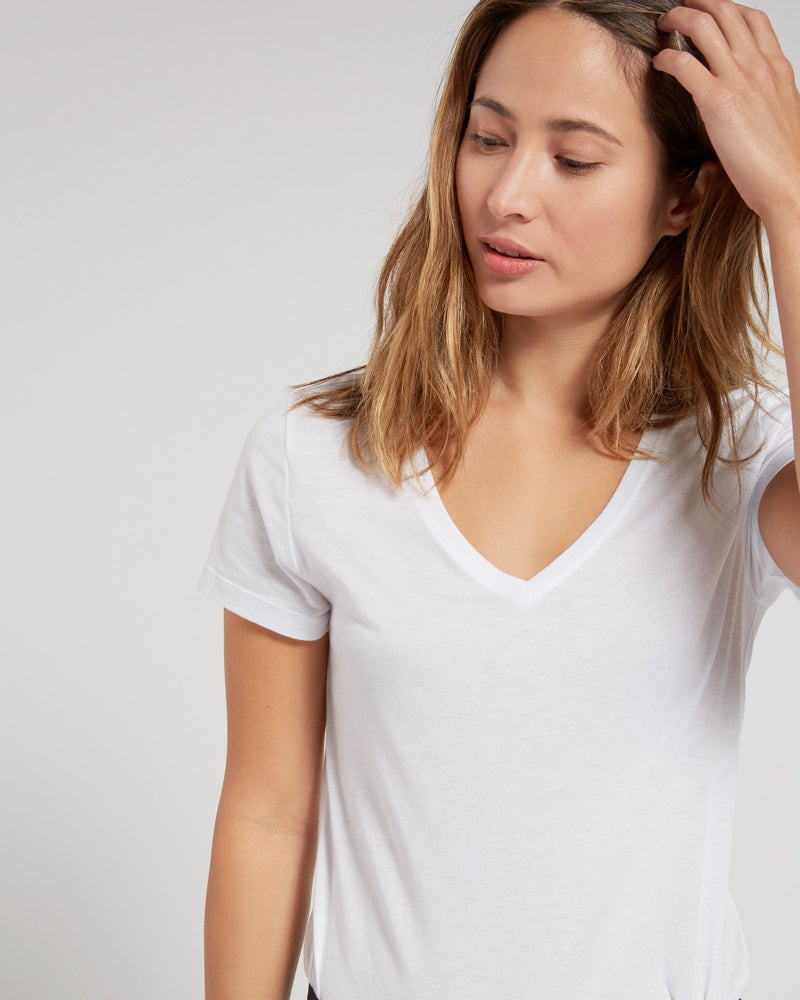 Textured Slub V-Neck Tee