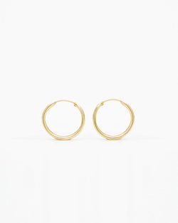 14k Gold Everyday 14mm Hoop Earrings