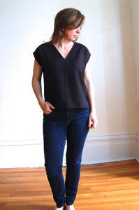 The Lena V-neck Linen T-shirt