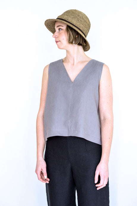 The Hattie V-neck Linen Top