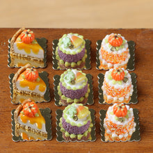 Load image into Gallery viewer, Candy Corn and Frog Genoise Individual Pastry for Autumn Halloween - 12th Scale miniature