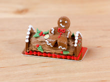 Load image into Gallery viewer, Gingerbread Man Sitting on Christmas Yule Log - Miniature Food