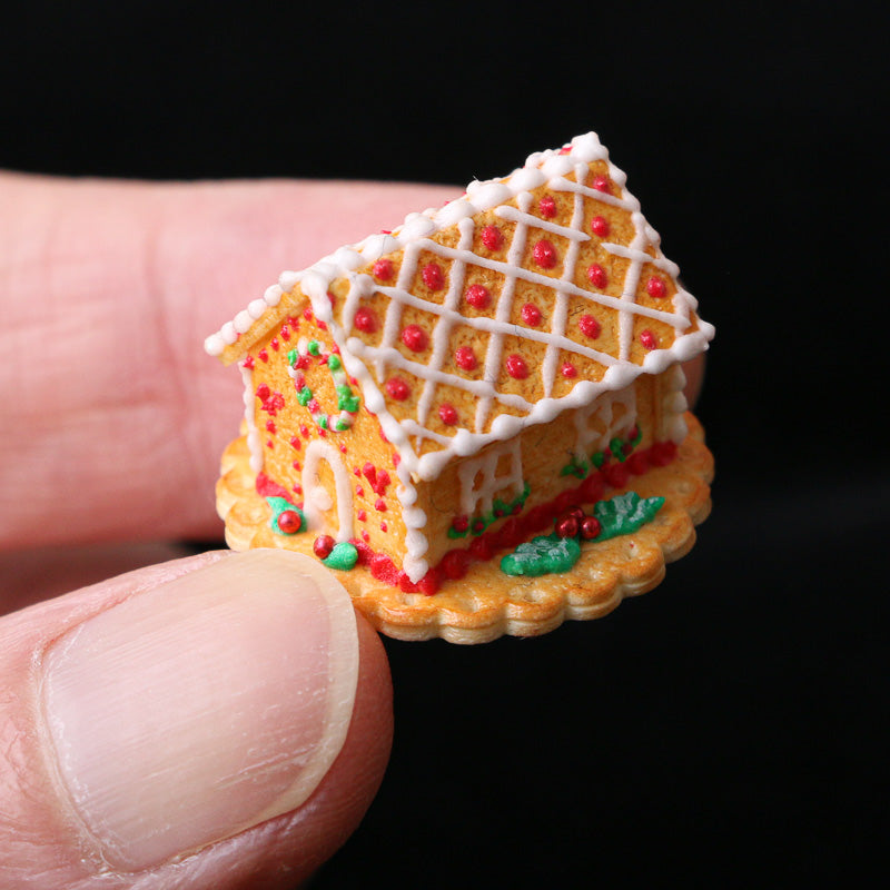Christmas Cookie House with Hand-piped Details - Miniature Food