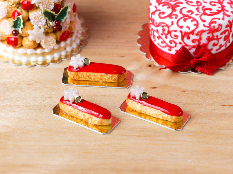 Snowflake and Red Iced French Christmas Eclair - Miniature Food
