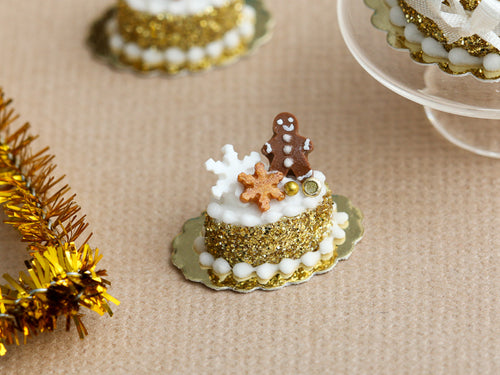 Gingerbread Man Golden Christmas Pastry - Miniature Food