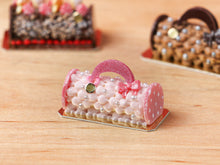 Load image into Gallery viewer, Handbag / Purse Yule Log - Pink - Miniature Christmas Food