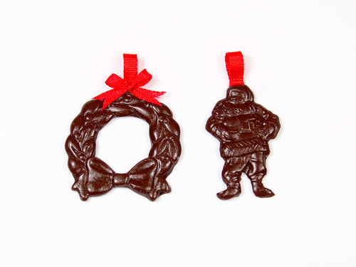 Pair of Dark Chocolate Christmas Decorations - Wreath and Santa - Miniature Food