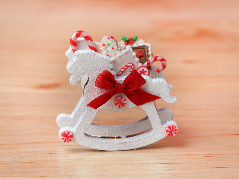 Rocking Horse Christmas Candy Cane Display (White) - 12th Scale Miniature