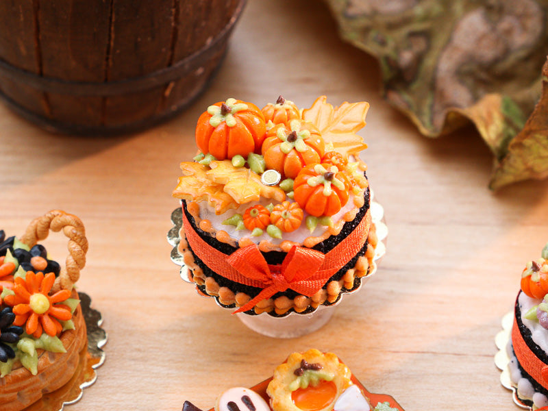 Autumn Cake Decorated with Orange Pumpkins, Leaf Cookies - 12th Scale Miniature Food
