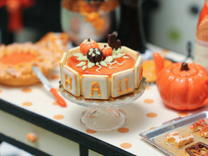 Halloween Cake Decorated with Lettered Cookies - Miniature Food in 12th scale