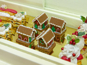 Tiny Gingerbread House - Individual Christmas Pastry - 12th Scale Miniature Food