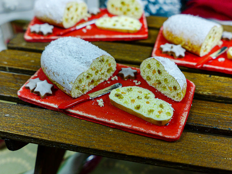 Christmas Stollen on Cutting Board - 12th Scale Miniature Food