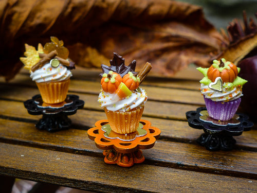 Autumn Showstopper Cupcake - Chocolate Leaf, Pumpkins, Candy Corn