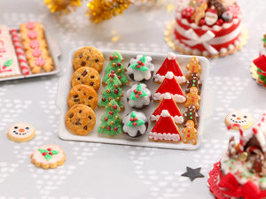 Christmas Cookies - Chocolate Chip, Christmas Trees, Puddings, Santa Hats, Gingerbread Men - Miniature Food