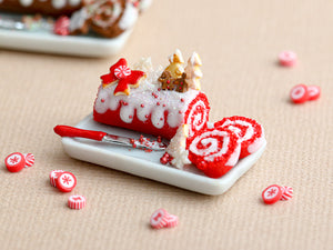Christmas Red Velvet Swiss Roll Yule Log with Gingerbread Couple in Forest - Miniature Food