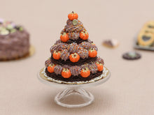 Load image into Gallery viewer, Triple Tiered Chocolate St Honoré Pastry for Autumn / Thanksgiving - Miniature Food in 12th Scale for Dollhouse