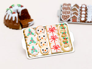 Christmas Cookies - Holly, Snowman, Present, Wreath - Miniature Food