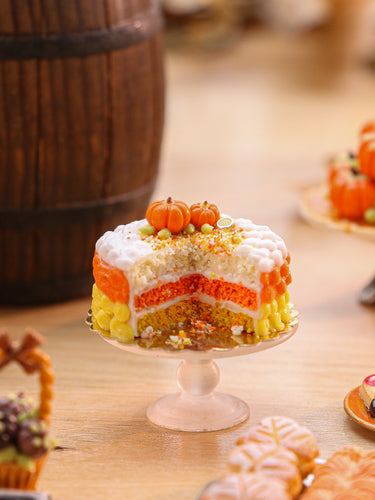 Candy Corn Colours Layer Cake - Miniature Dollhouse Food