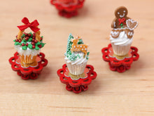 Load image into Gallery viewer, Showstopper Christmas Cupcake Deer in Forest D - 12th Scale Miniature Food