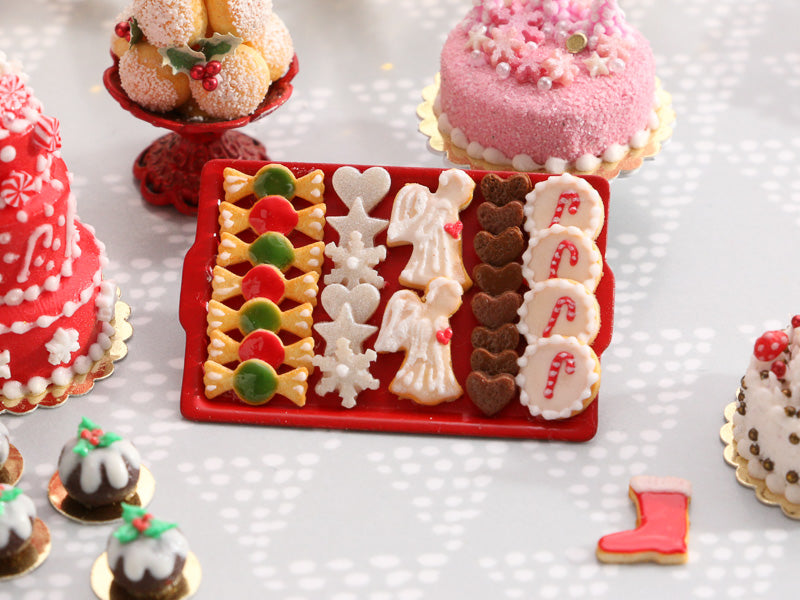Christmas Cookies - Bonbons, Stars, Snowflakes, Angels, Gingerbread, Candy Cane - Miniature Food