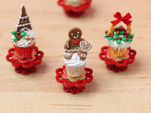 Showstopper Christmas Cupcake Gingerbread Man B - 12th Scale Miniature Food