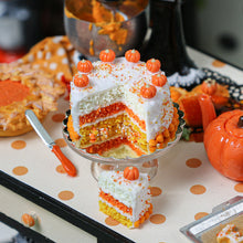 Load image into Gallery viewer, Autumn Layer Cake with Slice in Candy Corn Colors - Miniature Food