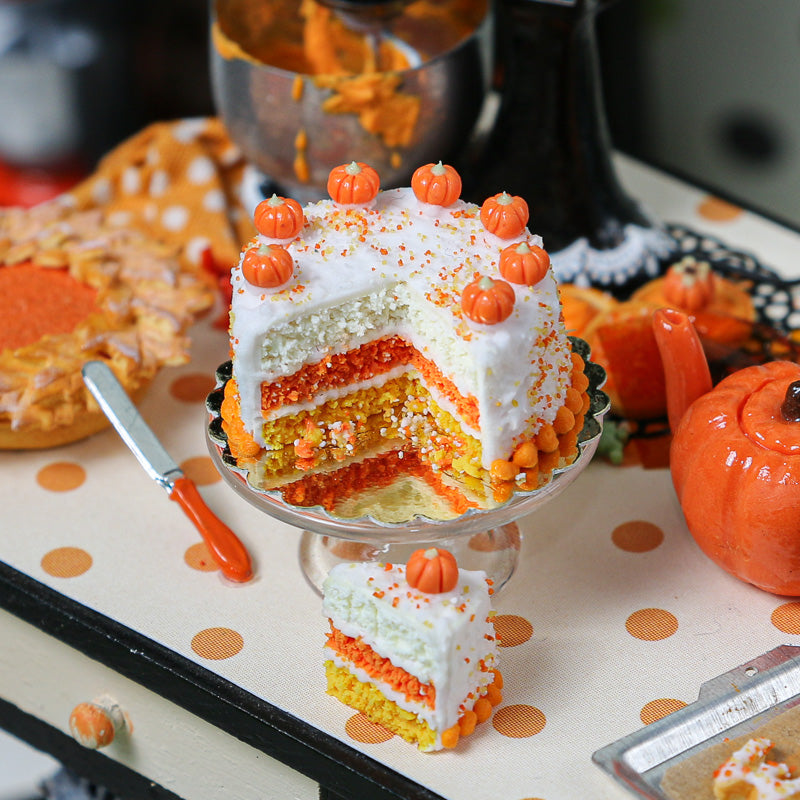 Autumn Layer Cake with Slice in Candy Corn Colors - Miniature Food