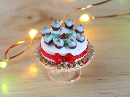 Christmas Cake Decorated with Tiny Christmas Puddings Holly and Red Ribbon - Miniature Food