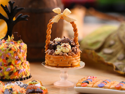 Autumn Basket Cake Filled with Dark, Milk and White Chocolate Pumpkins - 12th Scale Miniature Food