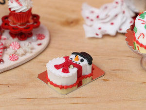Snowman Christmas Cake - 12th Scale Miniature Food