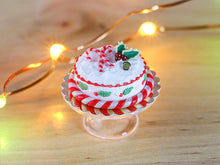Load image into Gallery viewer, Christmas Cake Decorated with Candy Cane and Holly Piping - 12th Scale Miniature Food