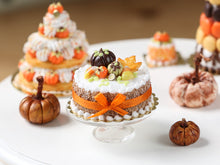 Load image into Gallery viewer, Autumn Cake - Coloured Pumpkins, Leaf Cookie, Candy Corns, Orange Bow