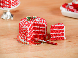 Red Velvet Layer Cake with Slice for Christmas Decorated with Holly, Arabesque Swirls - 12th Scale Miniature Food