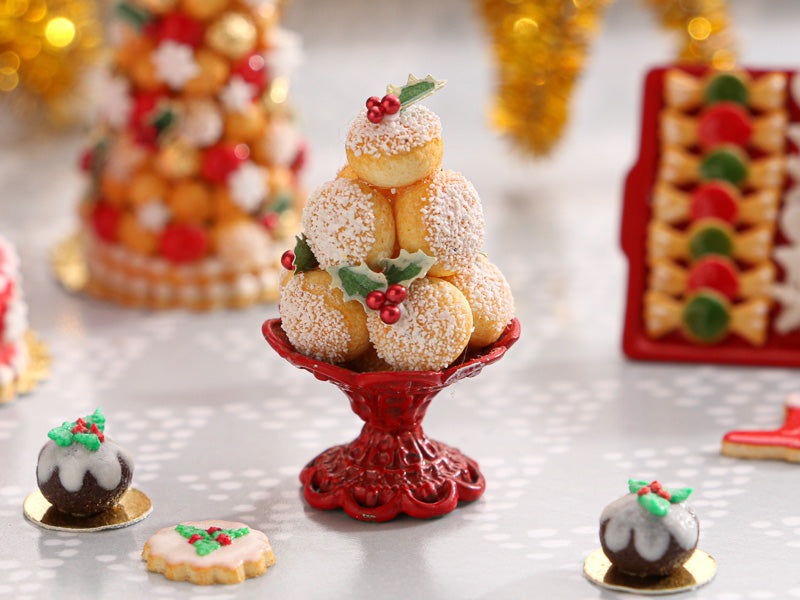 Christmas Choux Bun Display with Holly Decoration - Red Stand Stand- Miniature Food