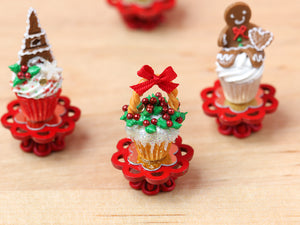 Showstopper Christmas Cupcake Snowy Holly Basket C - 12th Scale Miniature Food