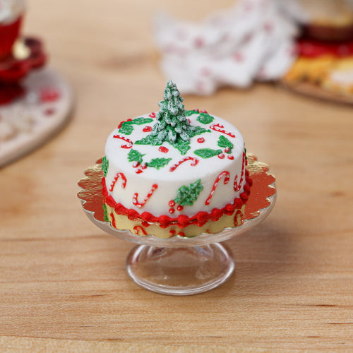Beautiful Christmas Cake - Tree, Candy Canes, Holly Decoration - Miniature Food