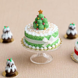 Miniature green truffle Christmas tree cake