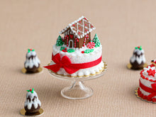 Load image into Gallery viewer, Christmas Cake Decorated with Tiny Gingerbread House - Miniature Food