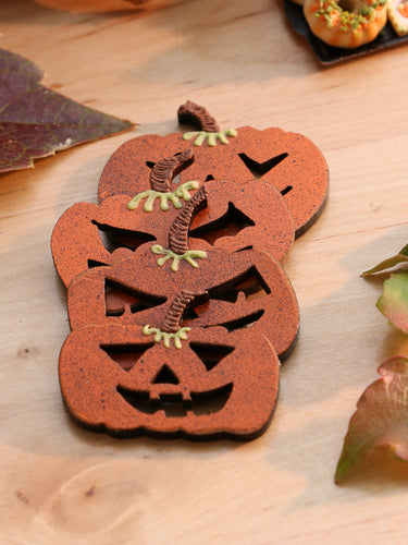 Set of Four Fun Decorative Wooden Jack O'Lantern Scary Pumpkin Face Decorations
