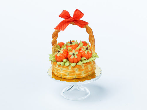Autumn Basket Cake Decorated with Candy Pumpkins