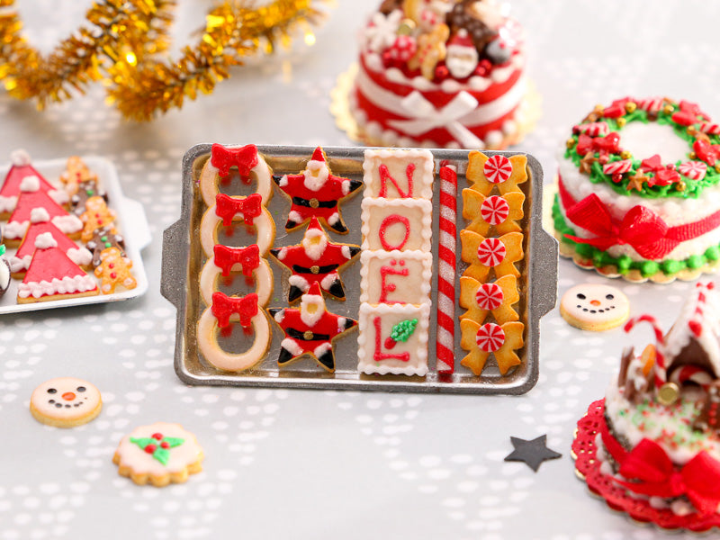 Christmas Cookies - Wreath, Santa, NOEL, Peppermint Candy Bows - Miniature Food