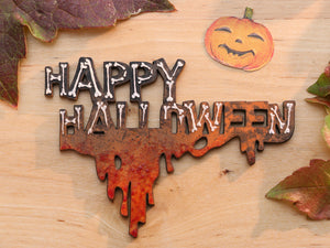 "Miniature Wooden ""HAPPY HALLOWEEN"" Wall Decoration - Bones! Dripping Blood!"